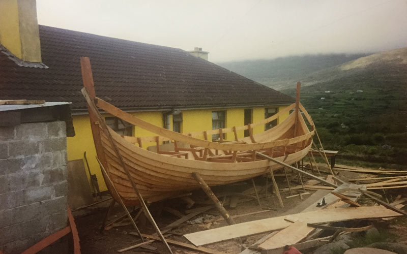 The Viking boat being built